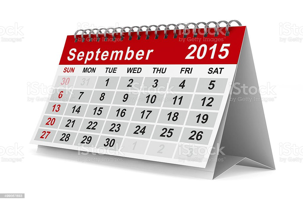 2015 year calendar. September. Isolated 3D image stock photo