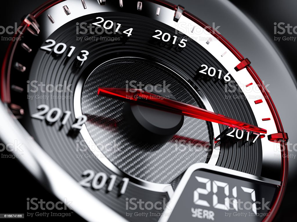 2017 year car speedometer. Countdown concept stock photo