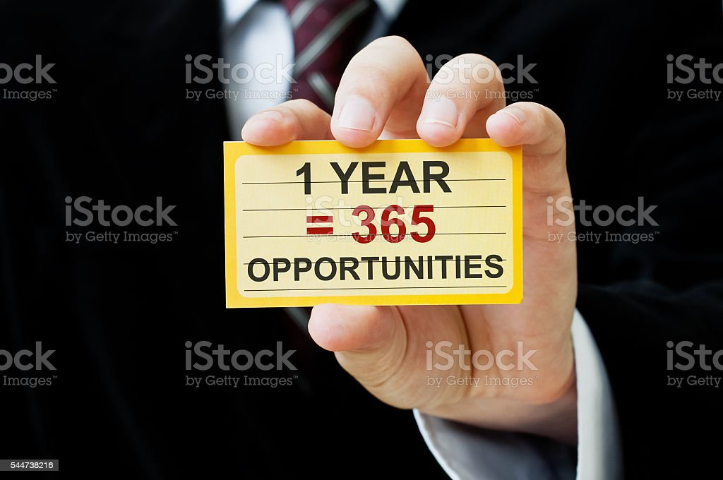 1 year equals 365 opportunities stock photo