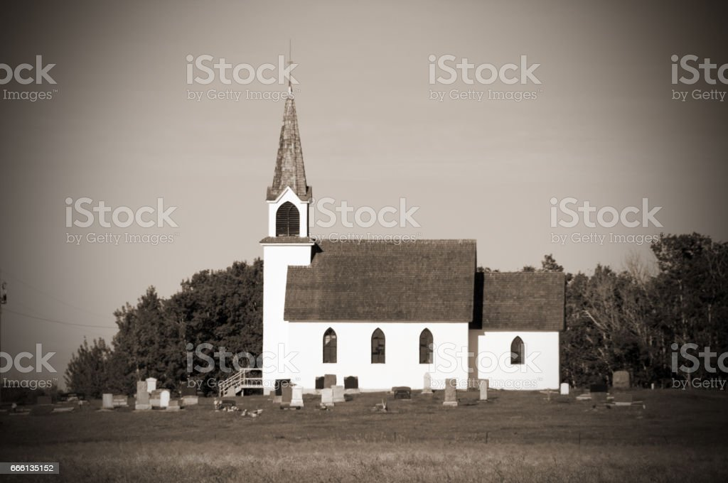 100 year old church in black and white stock photo