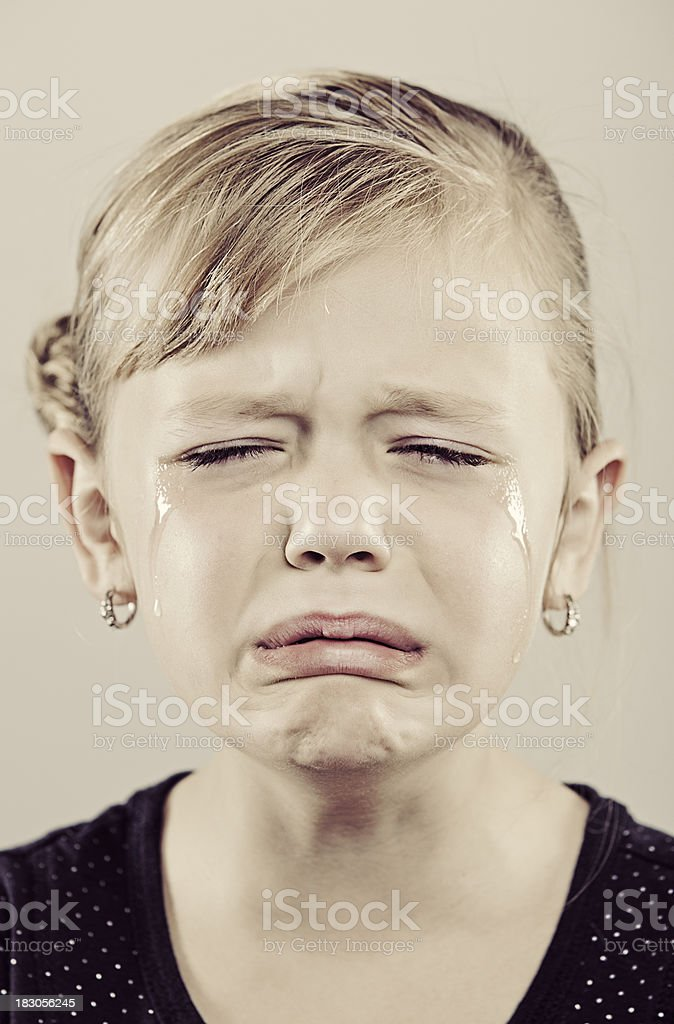 6 Year Old Girl Crying stock photo
