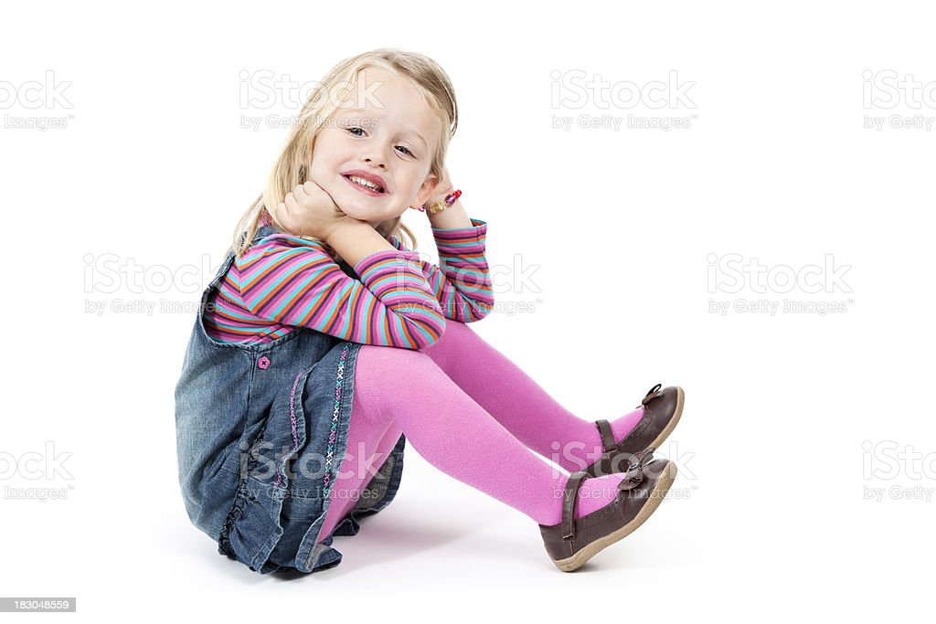 3 Year Old Girl Sitting down royalty-free stock photo