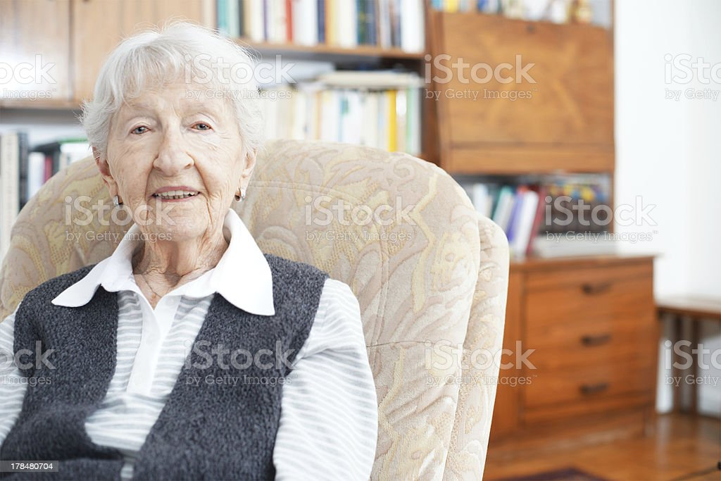 90 year old lady at home stock photo
