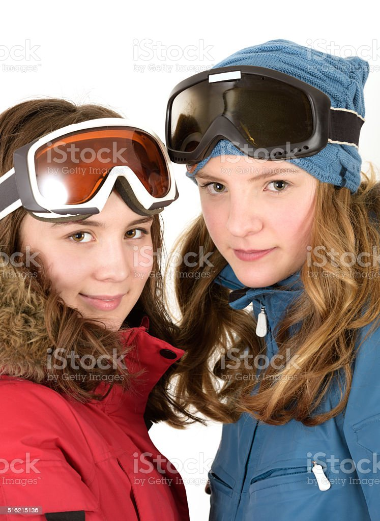 14 year old teen girls in ski wear stock photo