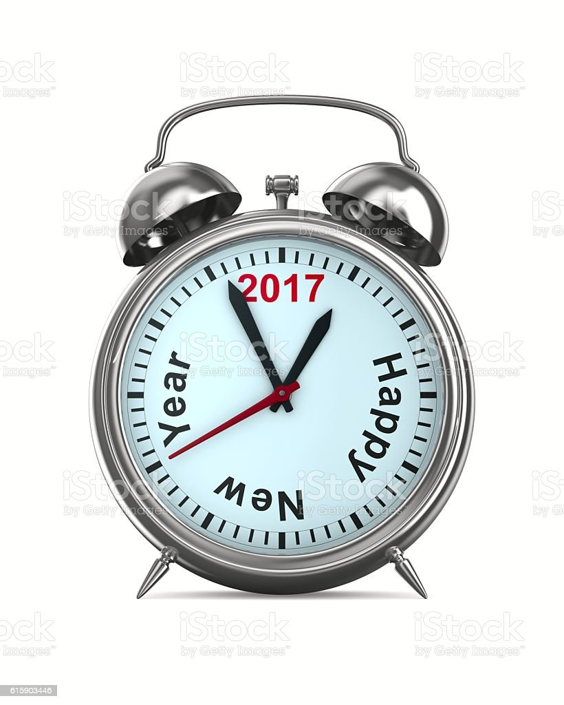 2017 year on alarm clock. Isolated 3D image stock photo
