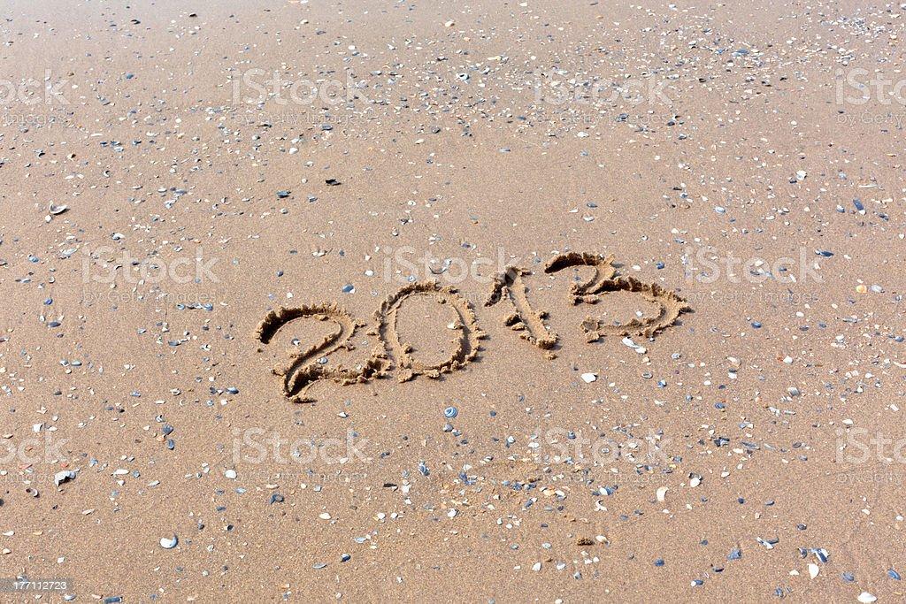 2013 Year written on the beach sand stock photo