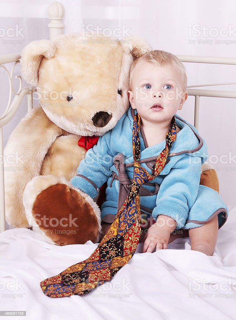 year-old child portrait in men's tie and toy bear royalty-free stock photo