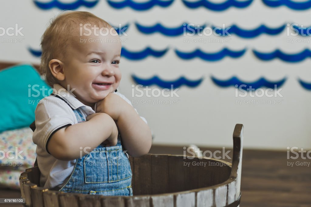 Year-old child smiles 5525. stock photo