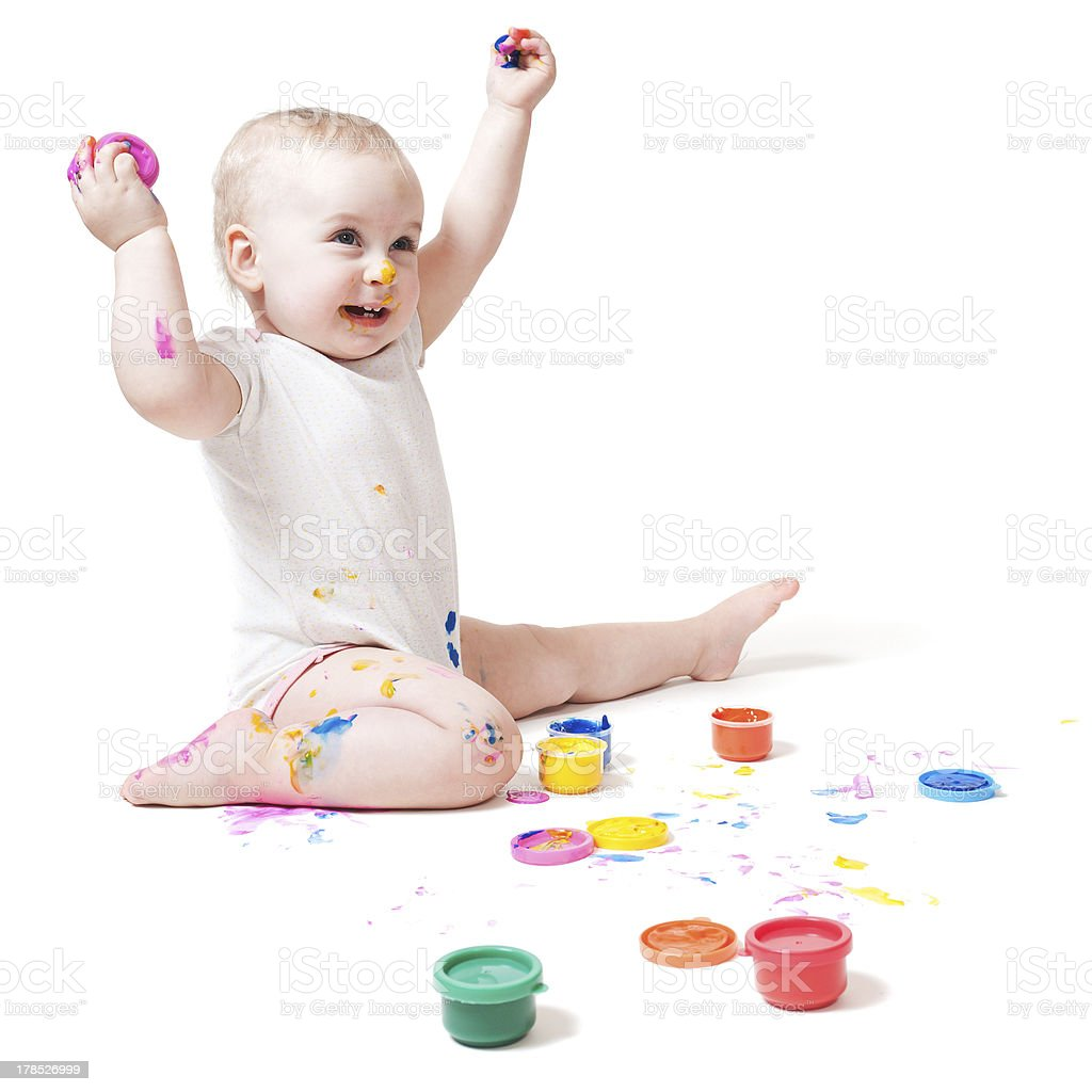 year-old child with paint royalty-free stock photo