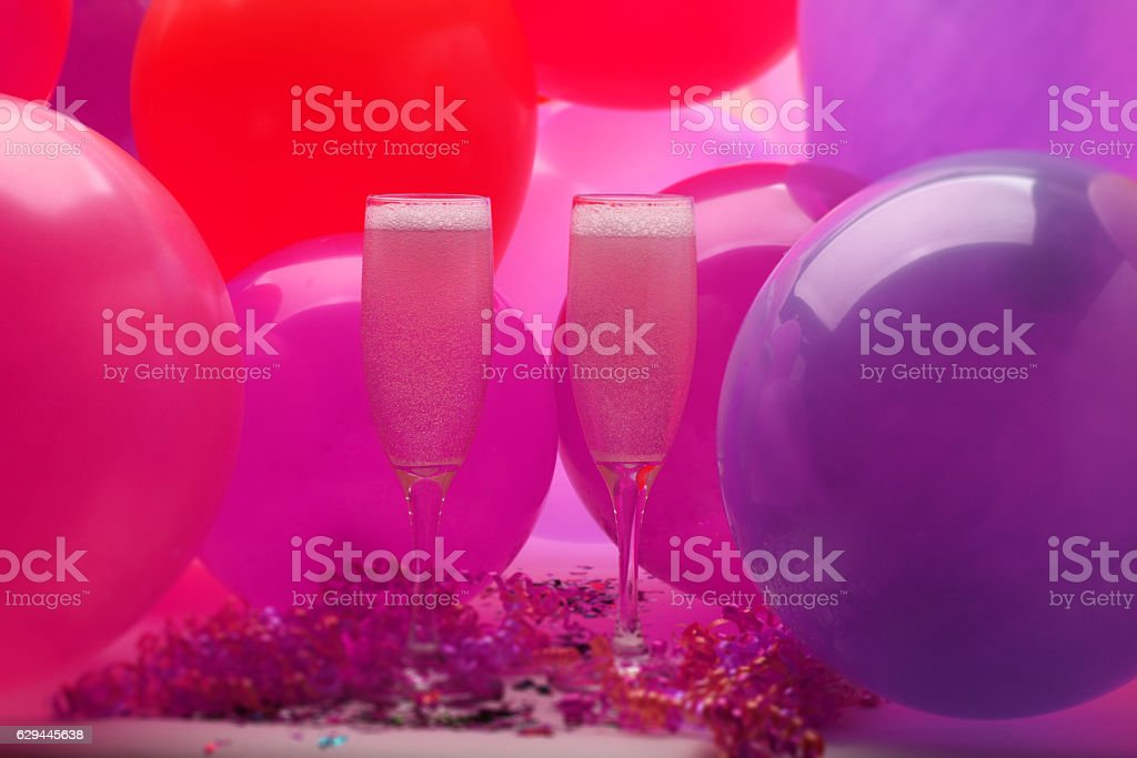 NEW Year's Eve Party with Balloons and champagne stock photo