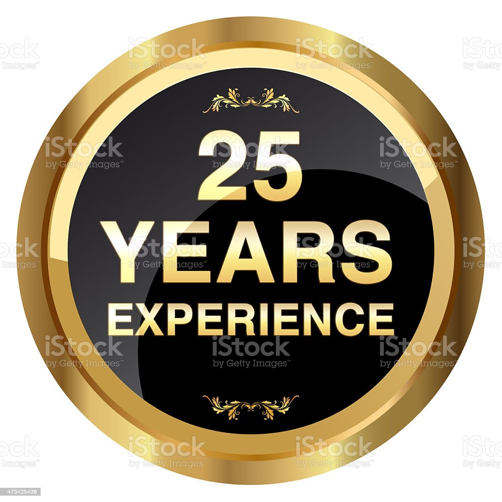 25 years experience gold badge - Stock Image stock photo