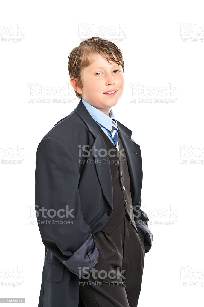 9 years old boy looking like businessman royalty-free stock photo