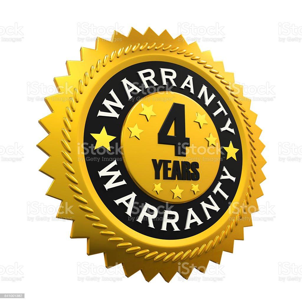 4 Years Warranty Sign stock photo