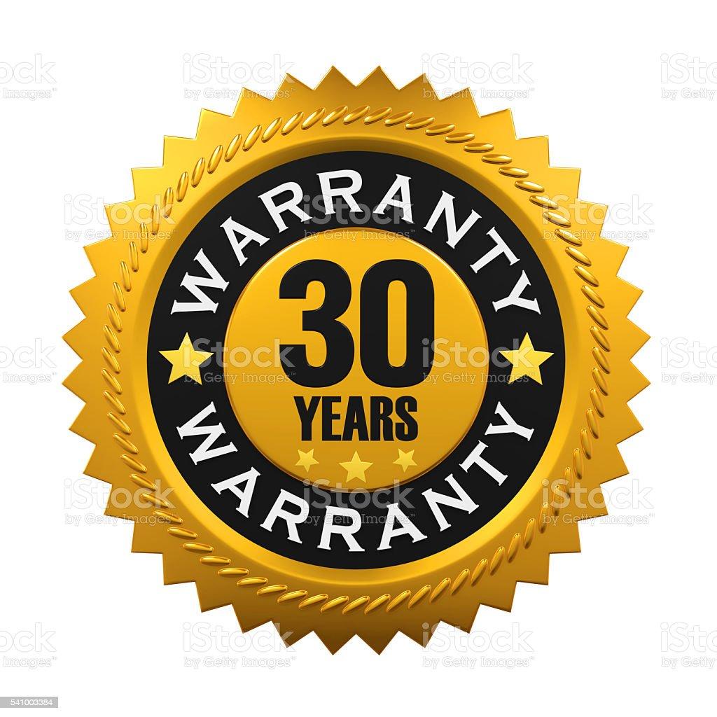 30 Years Warranty Sign stock photo