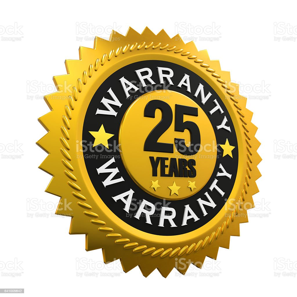 25 Years Warranty Sign stock photo