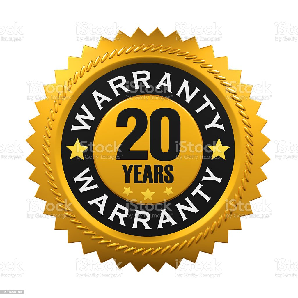 20 Years Warranty Sign stock photo