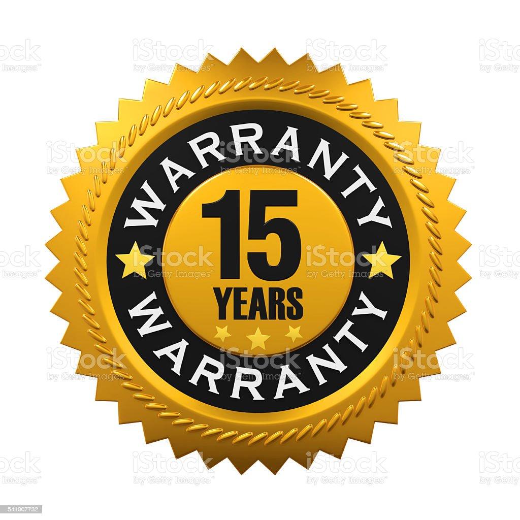 15 Years Warranty Sign stock photo