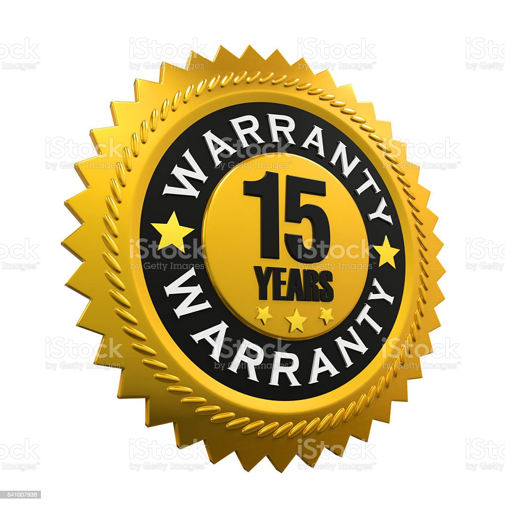 15 Years Warranty Sign stock photo