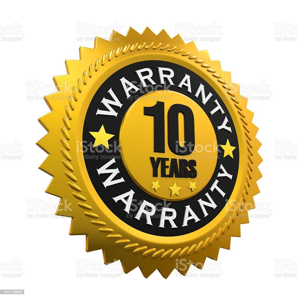 10 Years Warranty Sign stock photo
