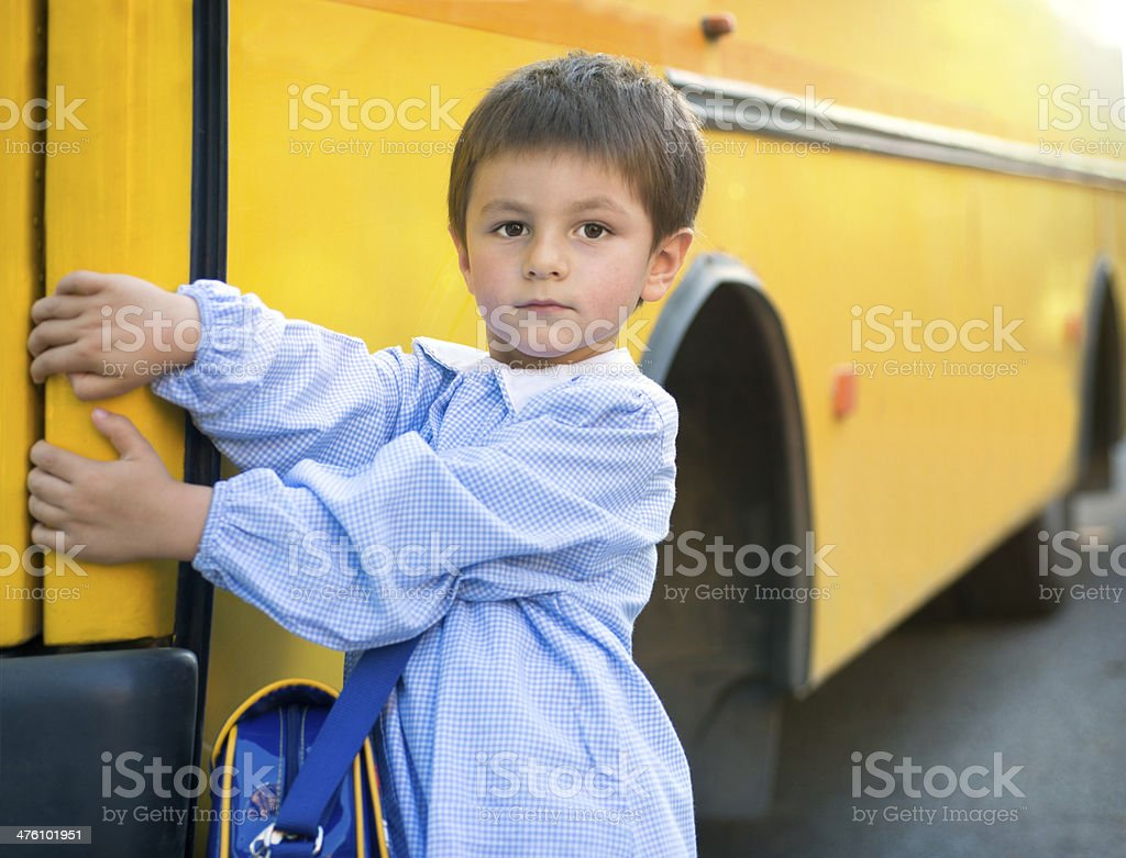 3-4 years-old Children in front a School Bus royalty-free stock photo