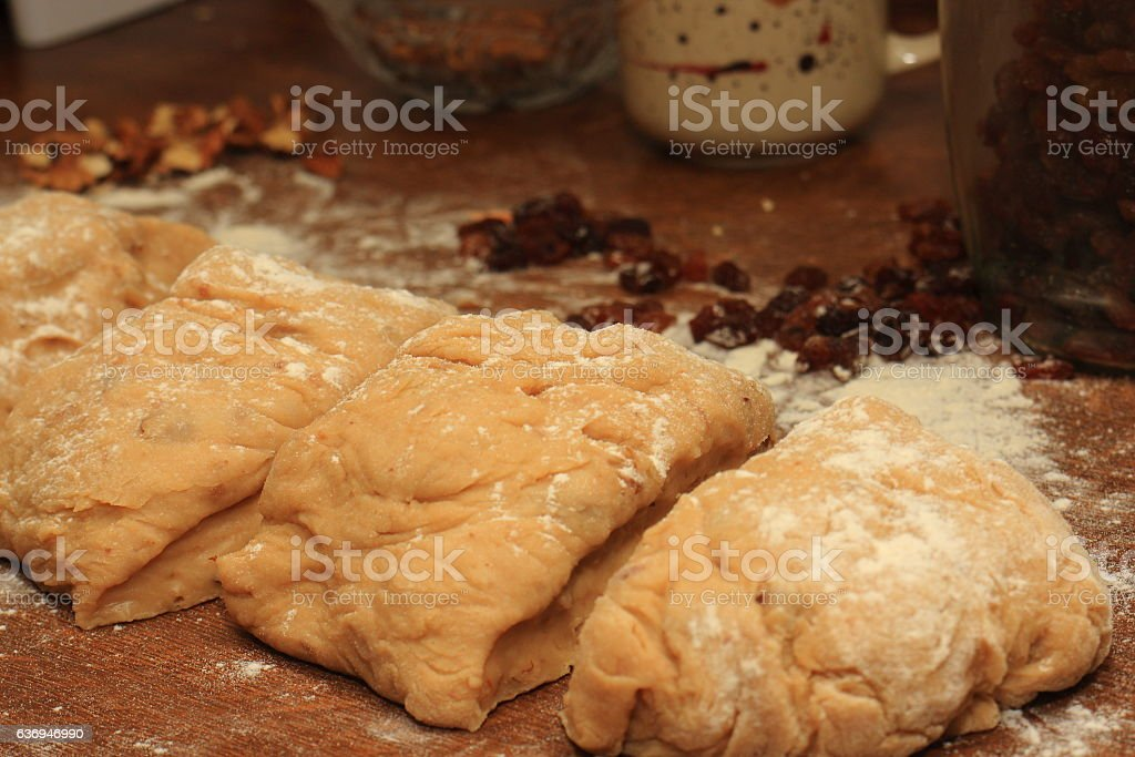 Yeast dough for sweet or savory pie stock photo