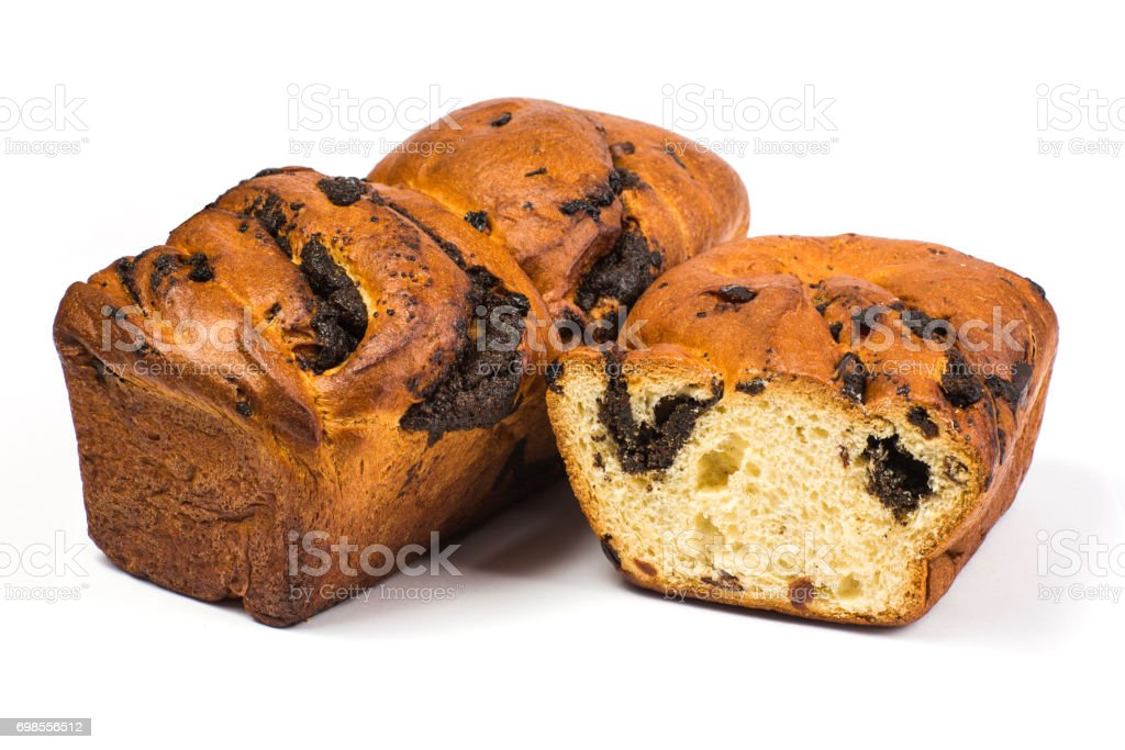 yeast roll with an oblong poppy stock photo