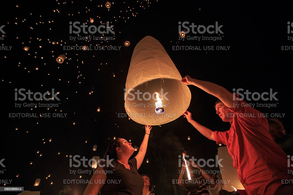 Yee Peng Festival at Chiangmai province, Thailand stock photo