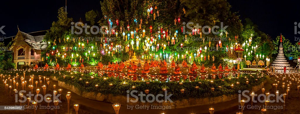 Yee Peng Festival at Wat Phan Tao. stock photo
