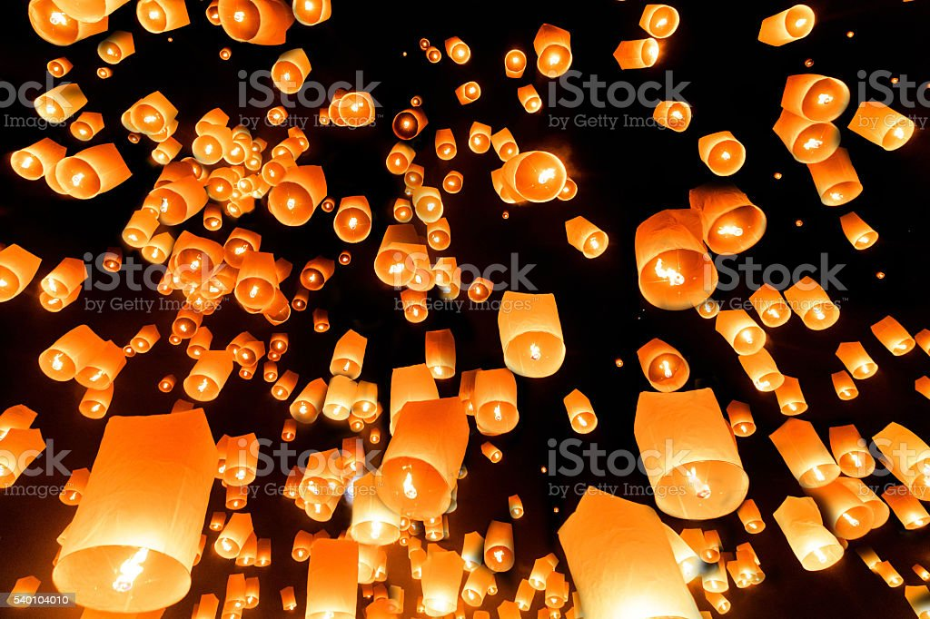 Yeepeng Firework Festival in Chiangmai stock photo