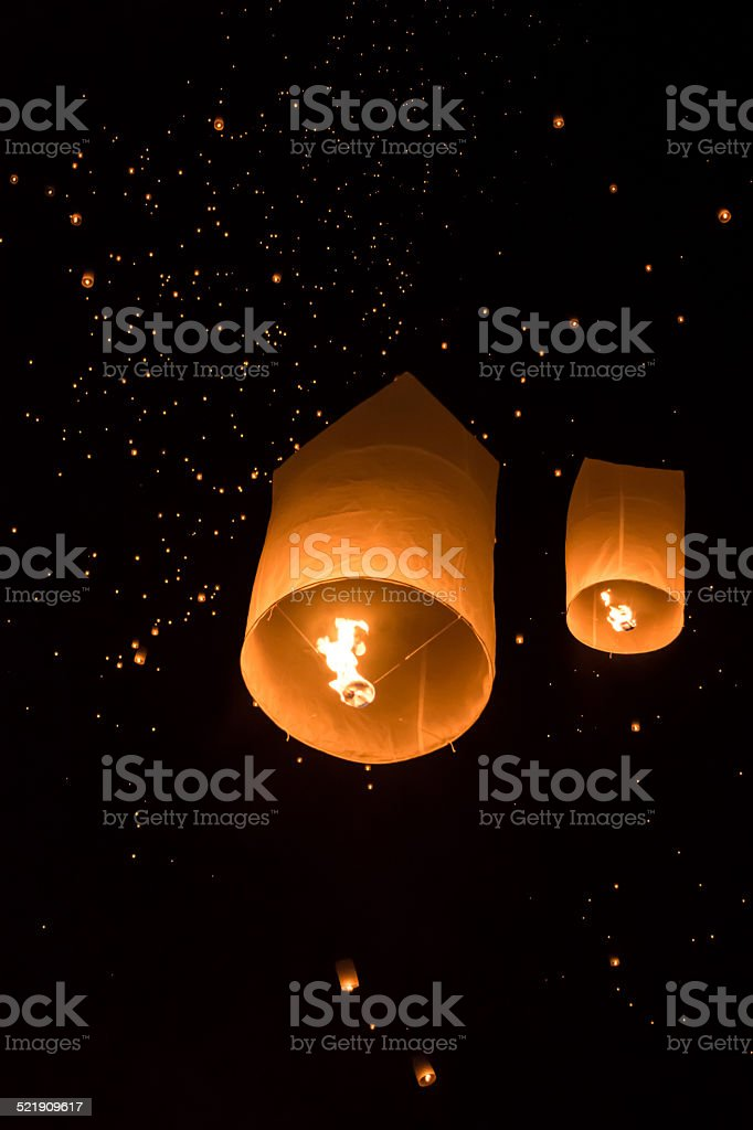 yeepeng Firework Festival in Chiangmai, Thailand stock photo