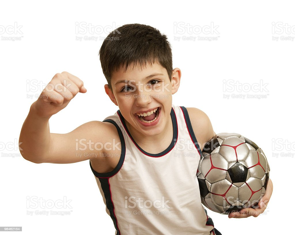 Yelling kid happy of his victory royalty-free stock photo