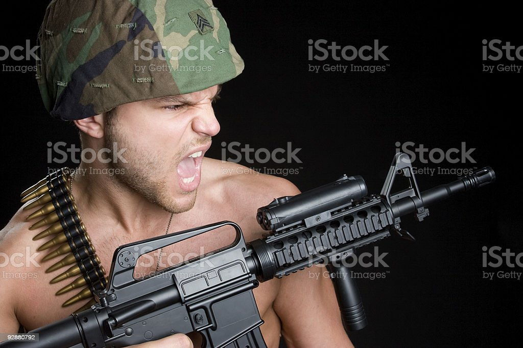 Yelling Soldier royalty-free stock photo