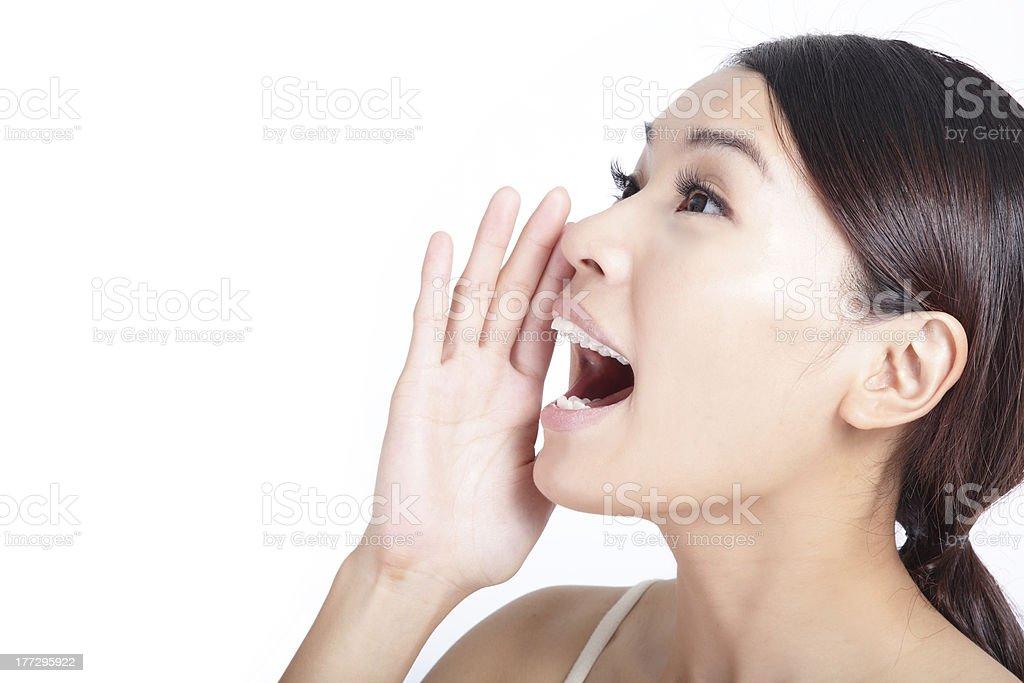 Yelling woman mouth closeup stock photo
