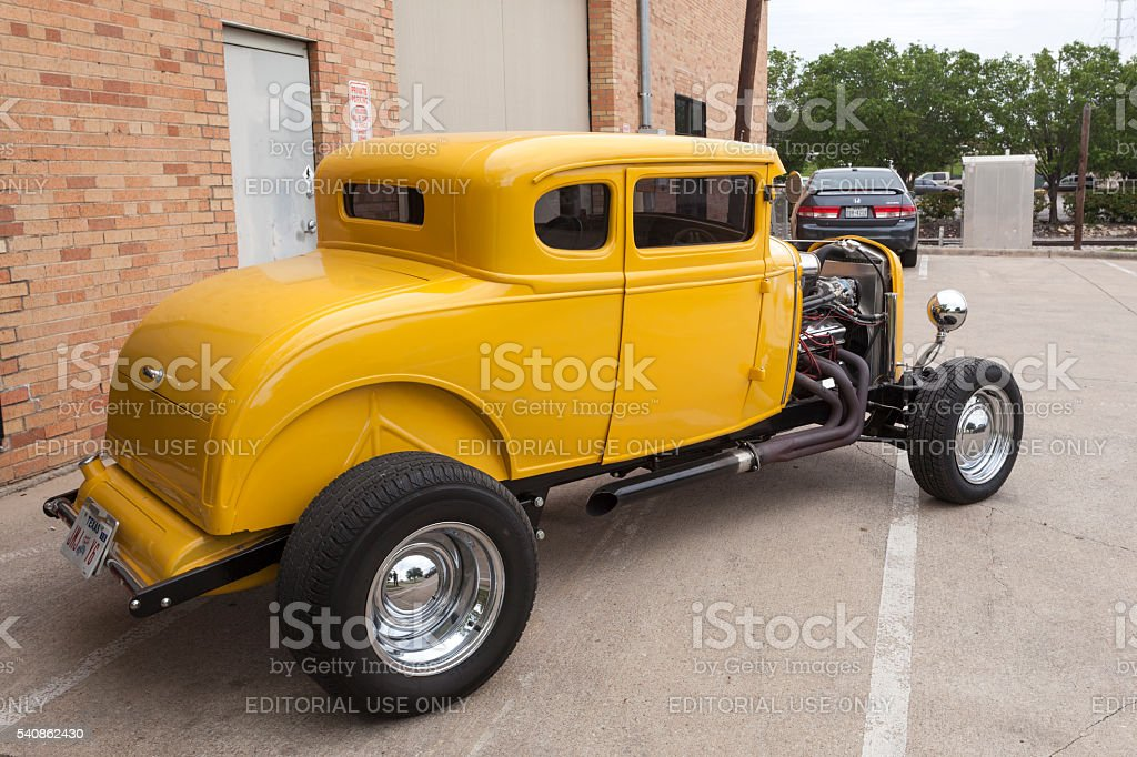 Yellow 1932 Ford Coup Hotrod stock photo