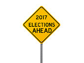 Yellow 2017 Elections Ahead Sign Isolated On White Background
