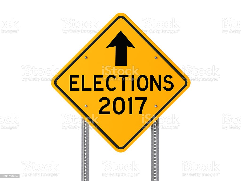Yellow 2017 Elections Ahead Sign Isolated On White Background stock photo