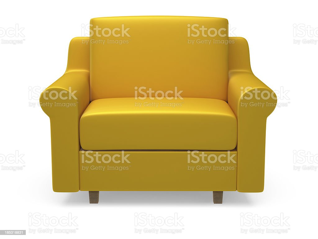 Yellow 3d armchair on white background stock photo