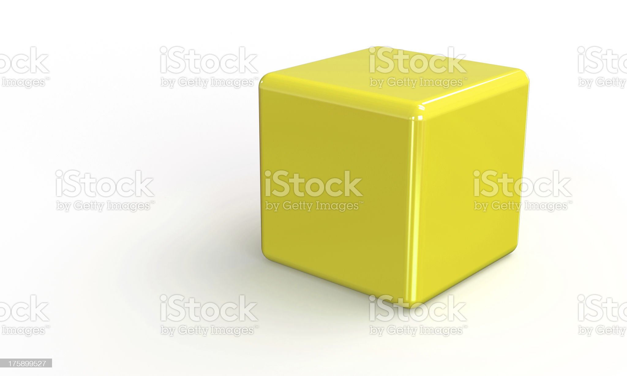 Yellow 3d cube isolate on white royalty-free stock photo