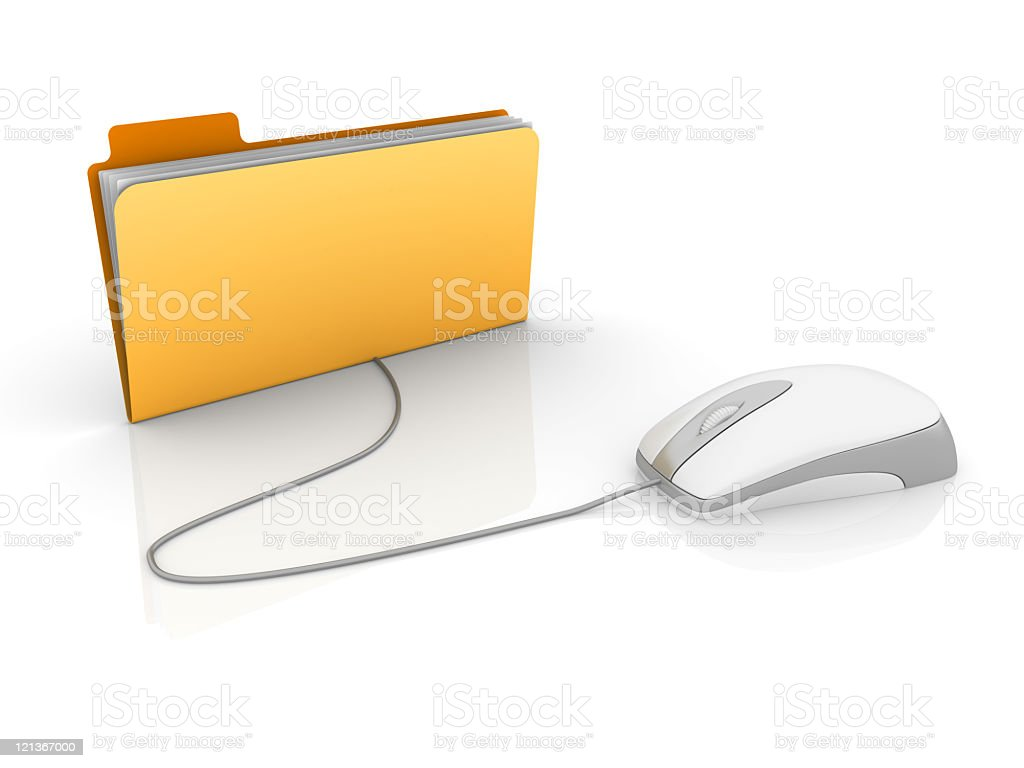 Yellow 3D Folder with Computer Mouse royalty-free stock photo