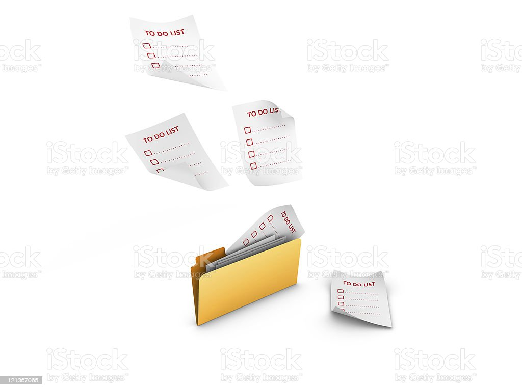 Yellow 3D Folder with To Do List Papers royalty-free stock photo
