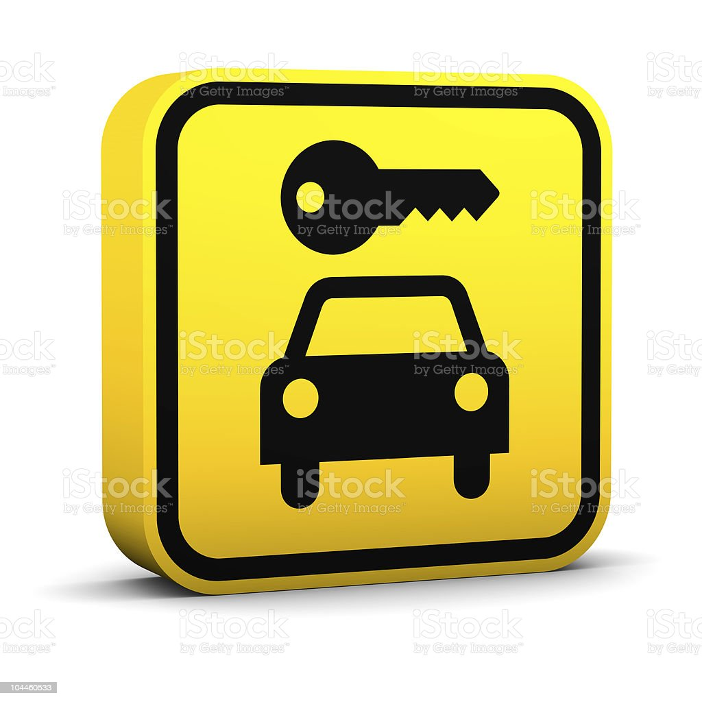 A yellow 3-D Rent-A-Car Sign, showing a key and a car royalty-free stock photo