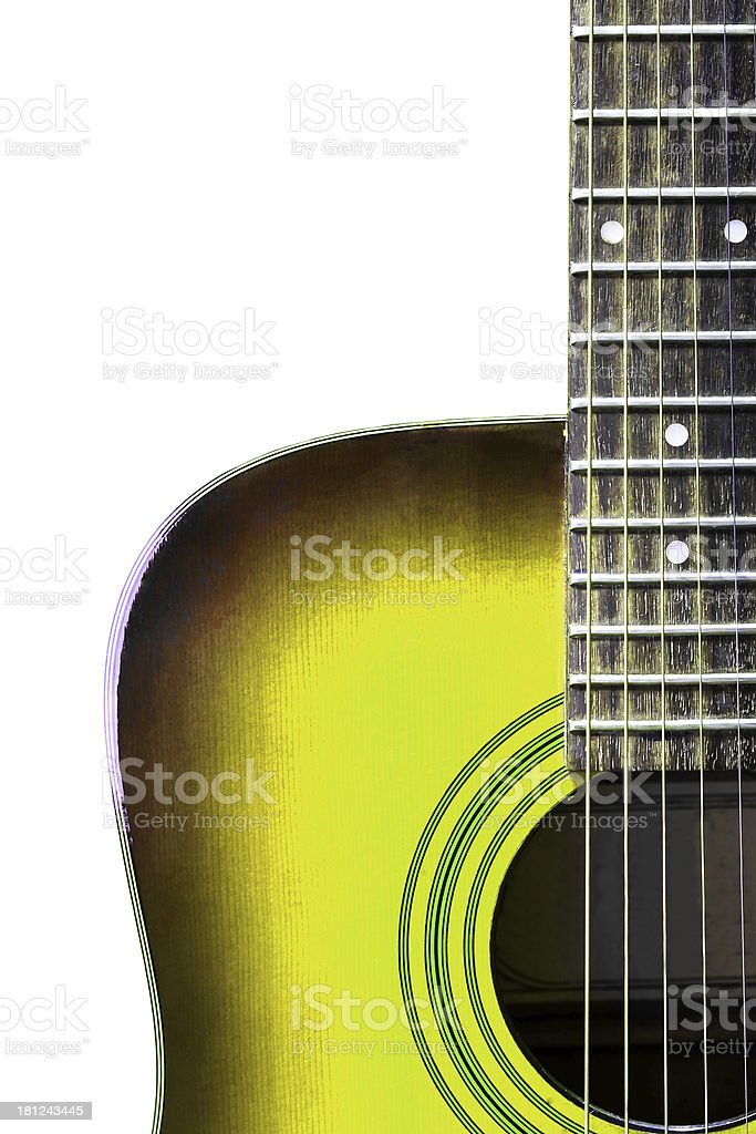 yellow acoustic guitar royalty-free stock photo