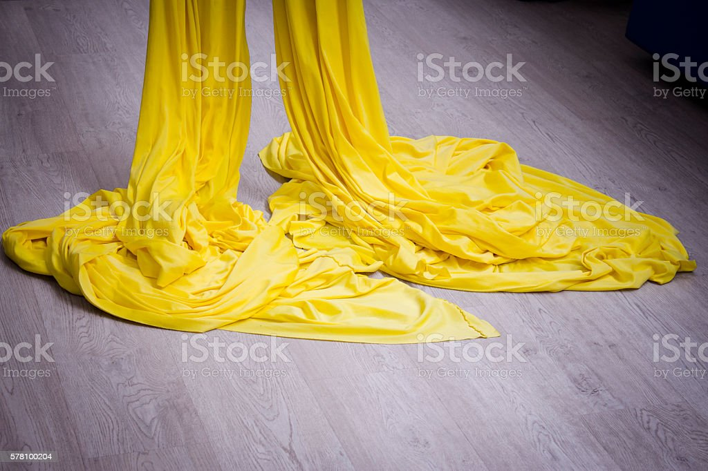 Yellow acrobatic tissue stock photo