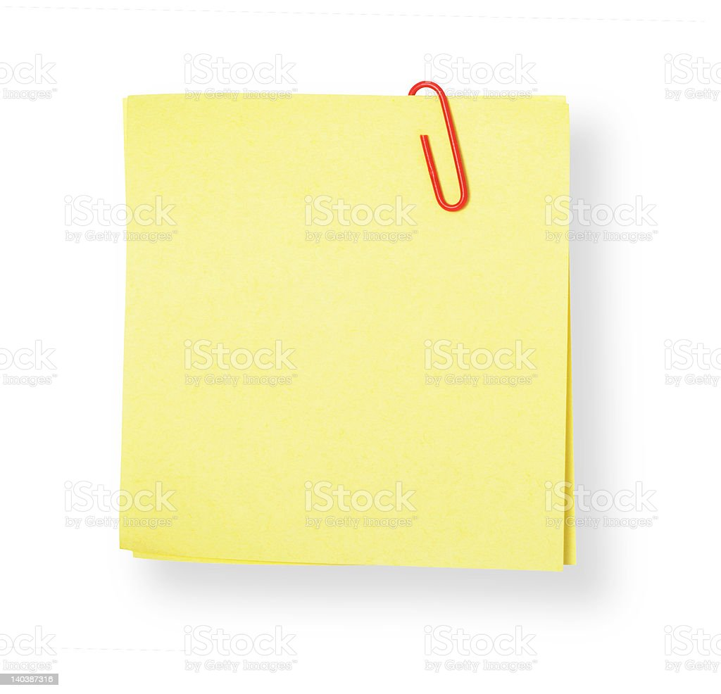 Yellow adhesive note on white background (with clipping path) royalty-free stock photo