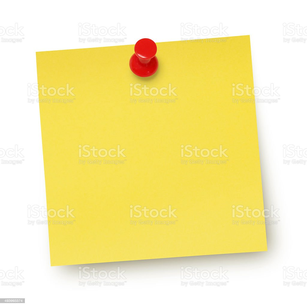 Yellow Adhesive Note (with path) stock photo