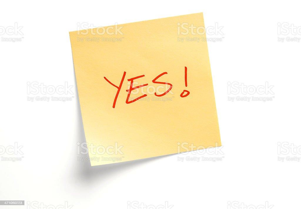 YES Yellow Adhesive Note Reminder on White Background royalty-free stock photo