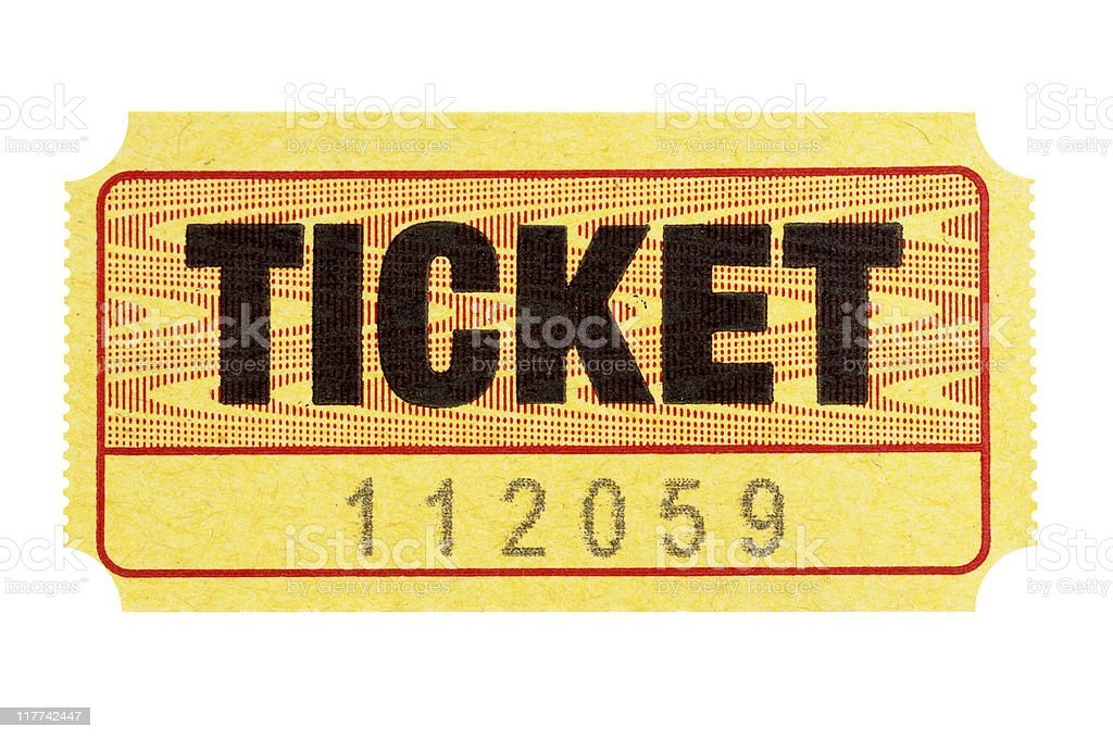 Yellow admission ticket royalty-free stock photo