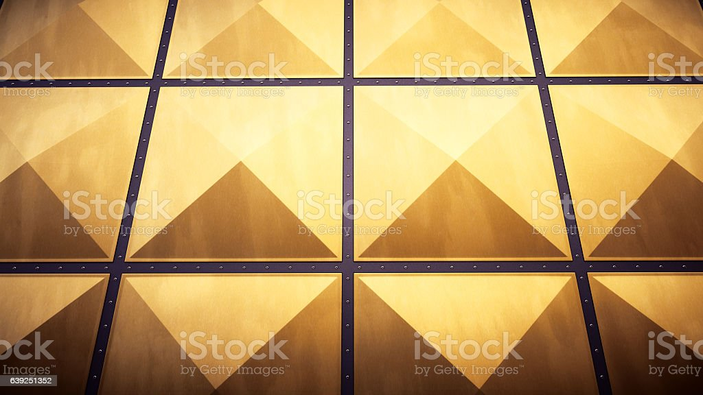 Yellow Air Duct Industry Plates Surface Composition stock photo