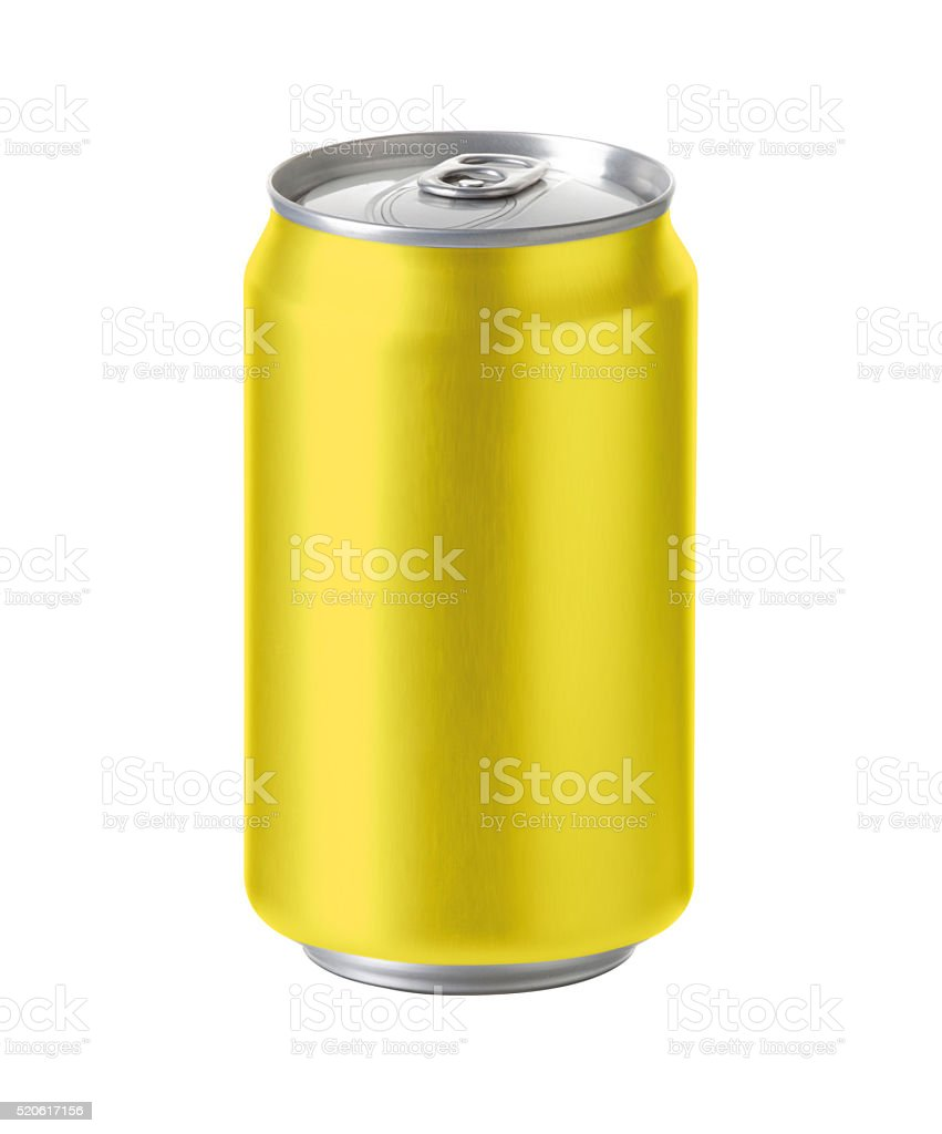 yellow aluminum can with space for design and clip path stock photo