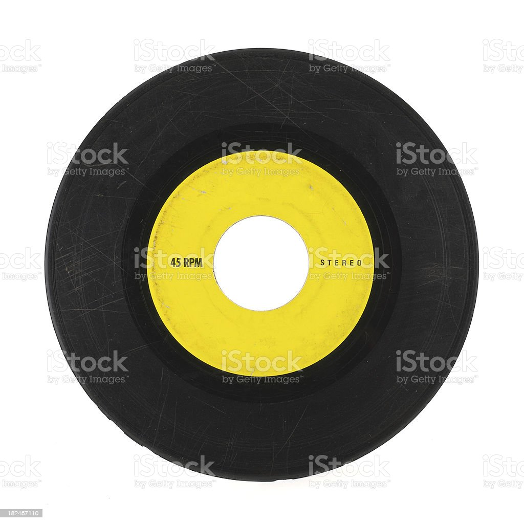 Yellow and black 45 music record with scratches stock photo